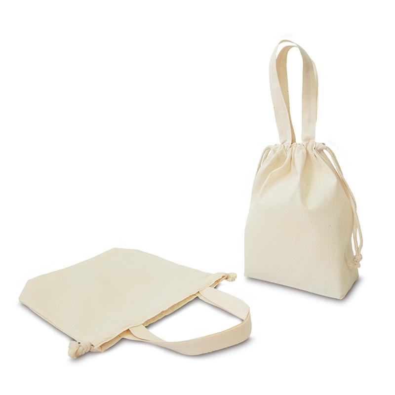 コットンエコ巾着[A4程度/薄手/底マチ]│名入れエコバッグ