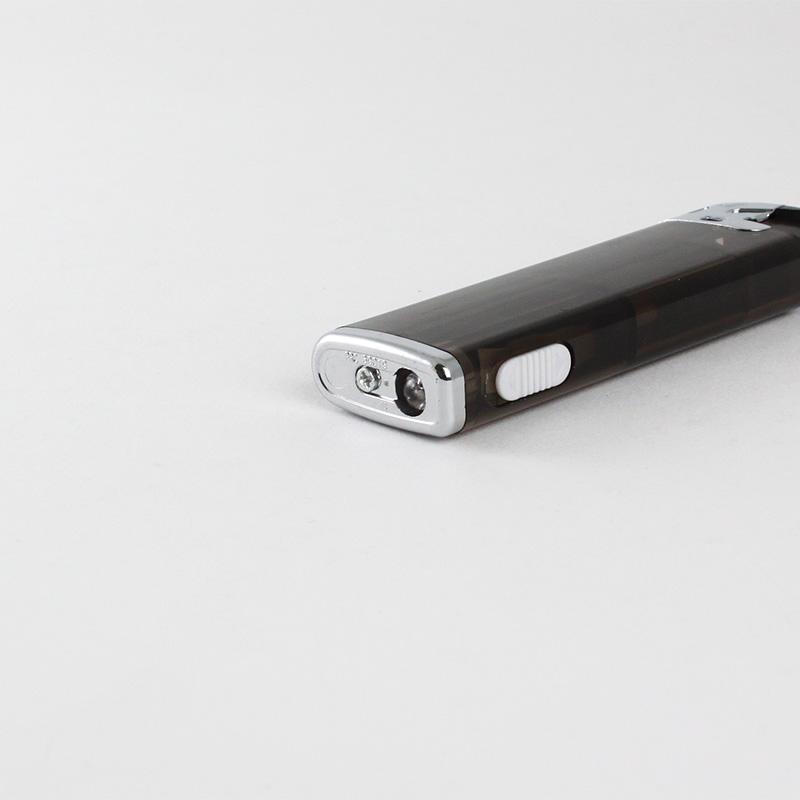 ブライトLEDライター 黒(透明)│名入れ無し 無地販売