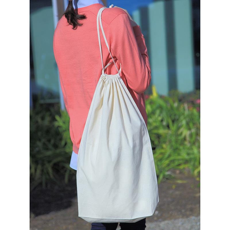 コットン巾着(Lサイズ)[A3程度/薄手/底マチ]│名入れエコバッグ