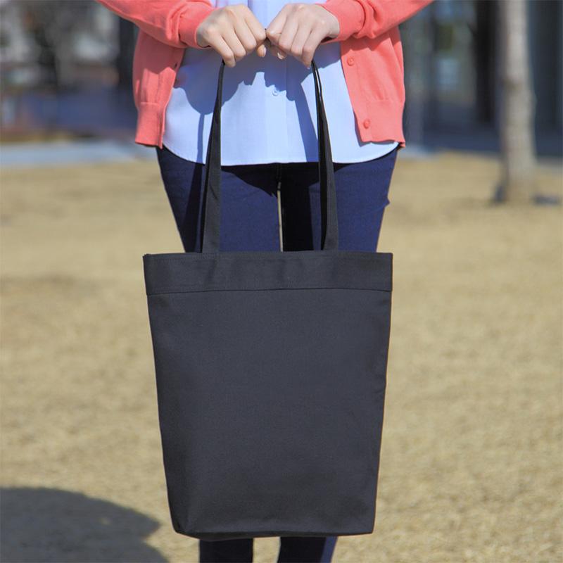 キャンバストートバッグ(黒)[B4程度/厚手/底マチ]│名入れエコバッグ