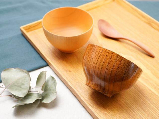 おしゃれな木のお椀 高台付き大和汁椀 漆・白木