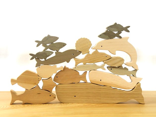 【海のいきものつみき】地球のつながりを感じる、国産無垢の木のおもちゃ