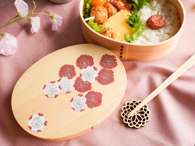 【蒔絵わっぱシリーズ】かがやく紅白の桜 一段曲げわっぱのお弁当箱
