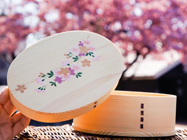 【蒔絵わっぱシリーズ】春を彩る桜の枝 一段曲げわっぱお弁当箱