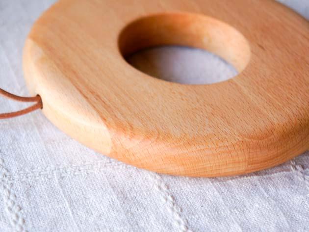 ドーナツ型ブナの木の鍋敷き