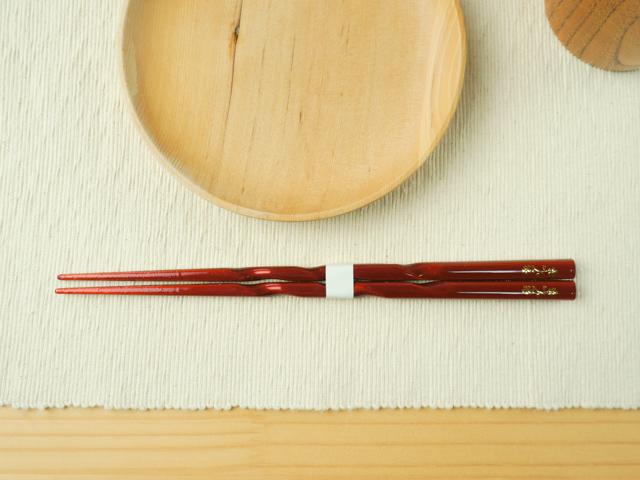 【食洗器対応】金紋 若狭塗のお箸 先角彫桜(桐箱入り)