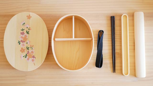 【ラッピング込み】さくら舞う曲げわっぱのお弁当箱とお箸のギフトセット