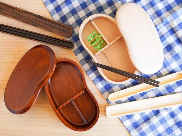 【ラッピング込み】人気のお豆型くりぬき弁当箱とお箸・はし箱のギフトセット