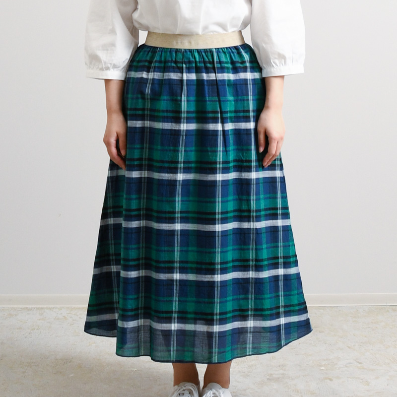 コットンラミースラブチェック スカート