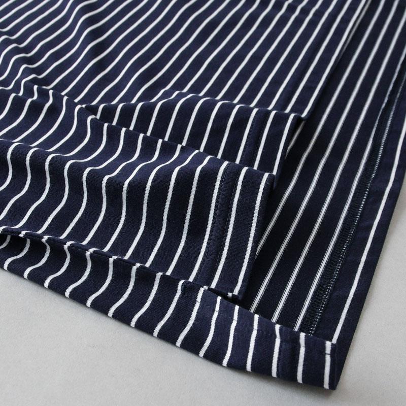 コットンジャージーボーダー3 ボートネックTシャツ(7分袖)