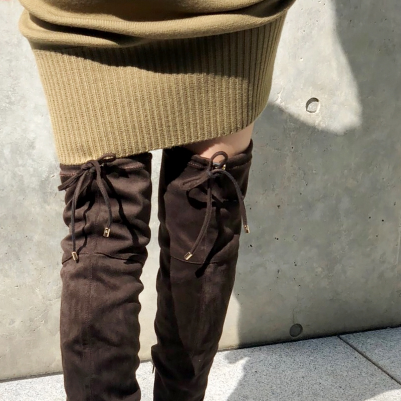 【40%OFF】ニーハイストレッチブーツ BLK/DBR Dhyana.