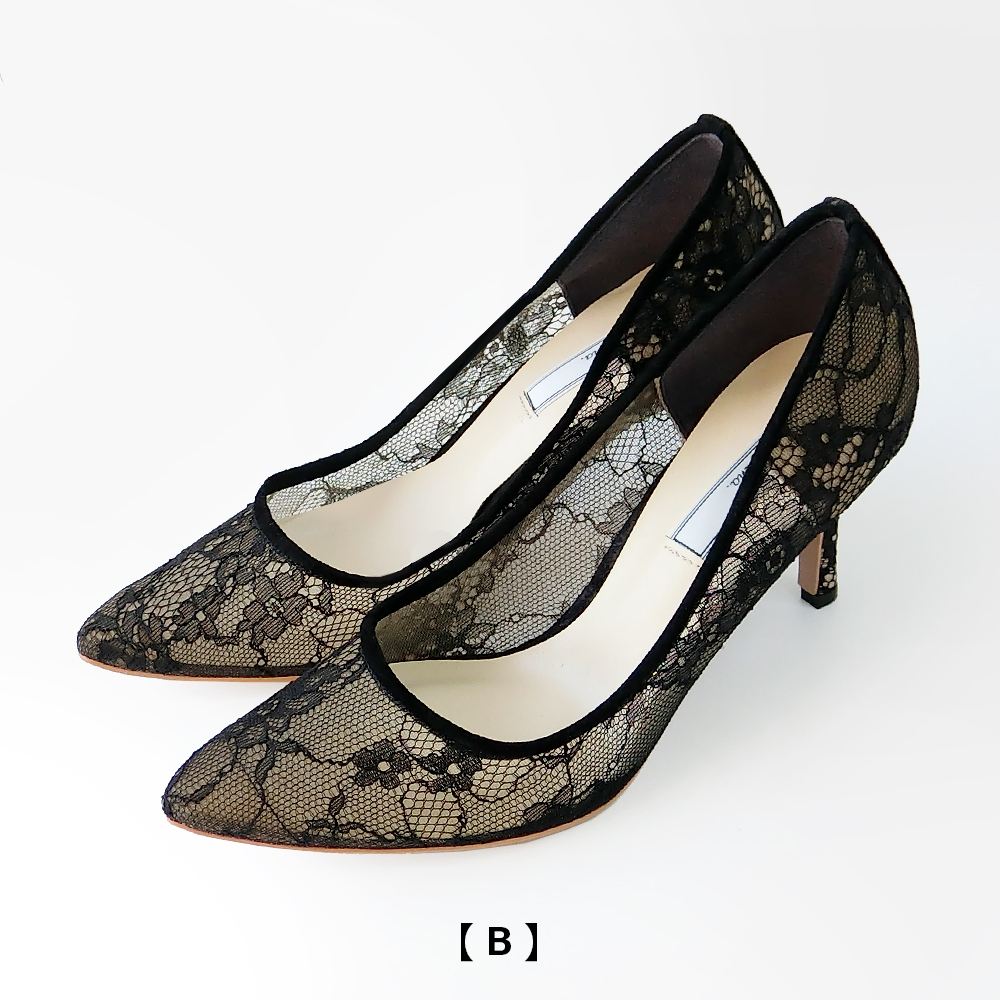 【15%OFF】7.5cmヒールレースパンプス[BLACK] Dhyana.