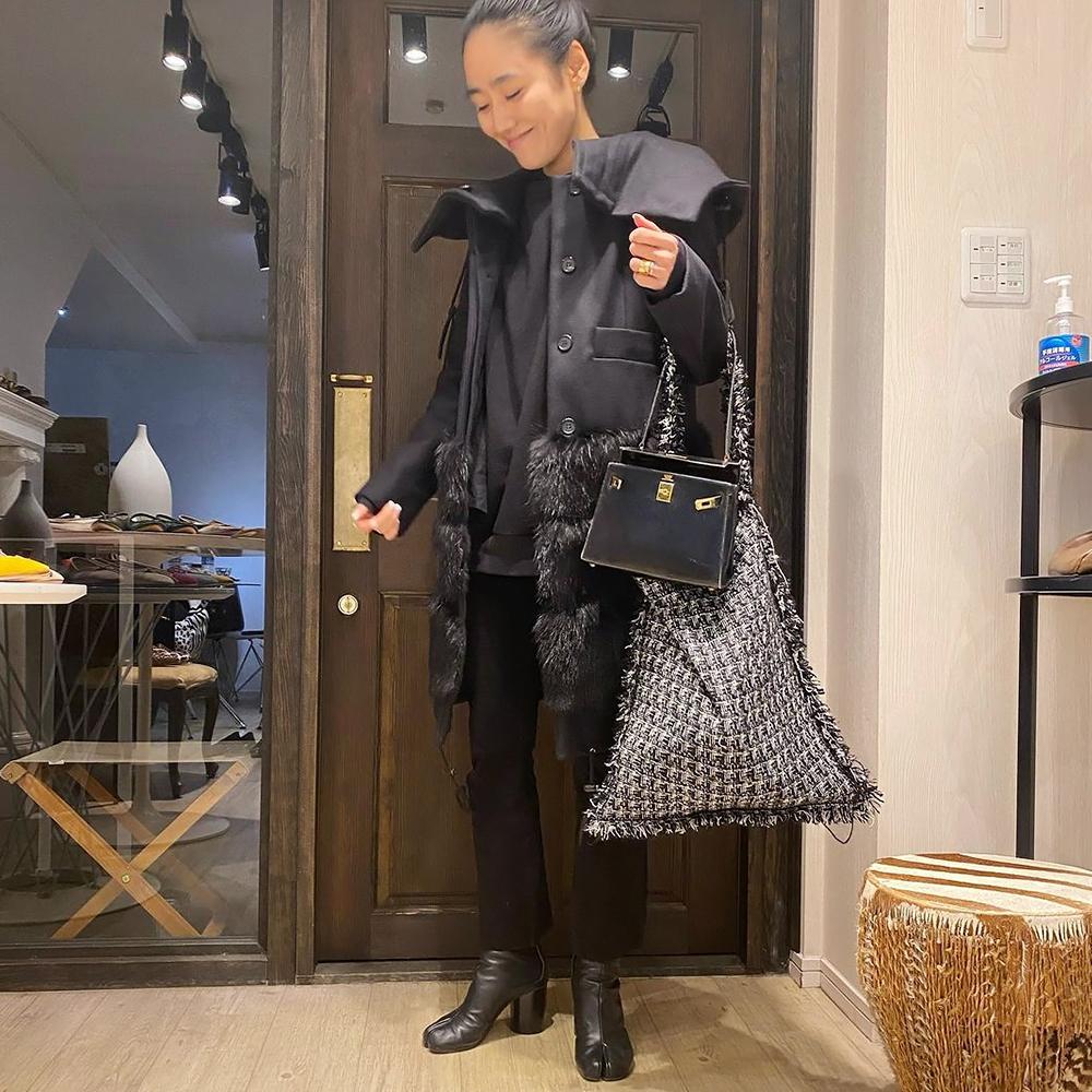 TWEED ONE SHOULDER BAG[BLACK] COUDRE