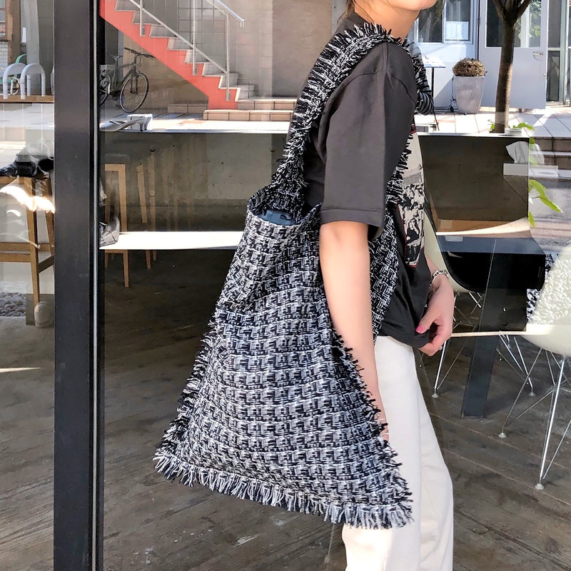 TWEED ONE SHOULDER BAG[BLACK] COUDRE