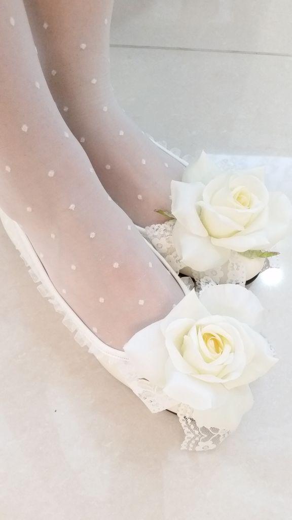 薔薇レースフラットシューズ(白)
