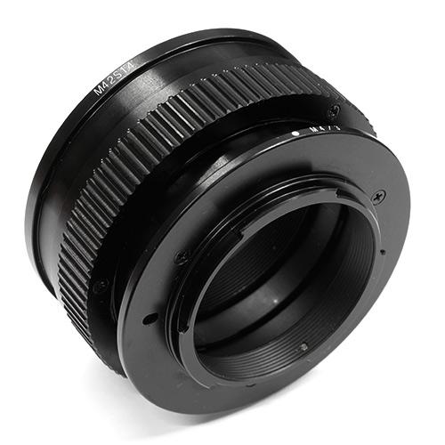 HAWKSFACTORY M42S14 M4/3 HELICOID マウント(ボディ側:Micro Four Thirds/レンズ側:M42マウント)補助ヘリコイド付き ブラック