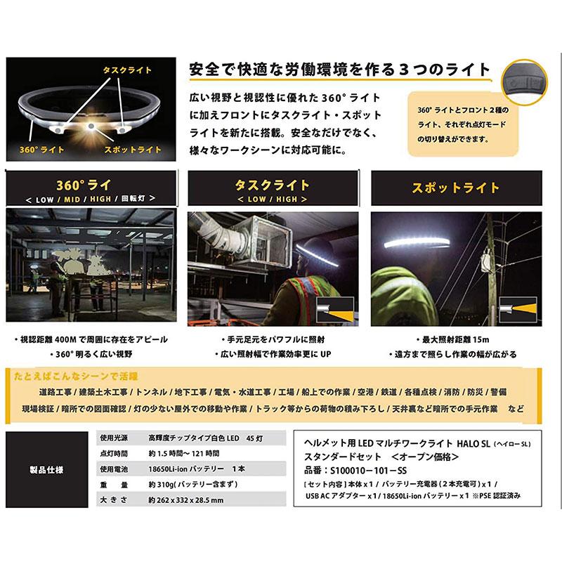 《NEW》ヘルメット用LEDマルチワークライト HALO SL S-101-SS[75850]