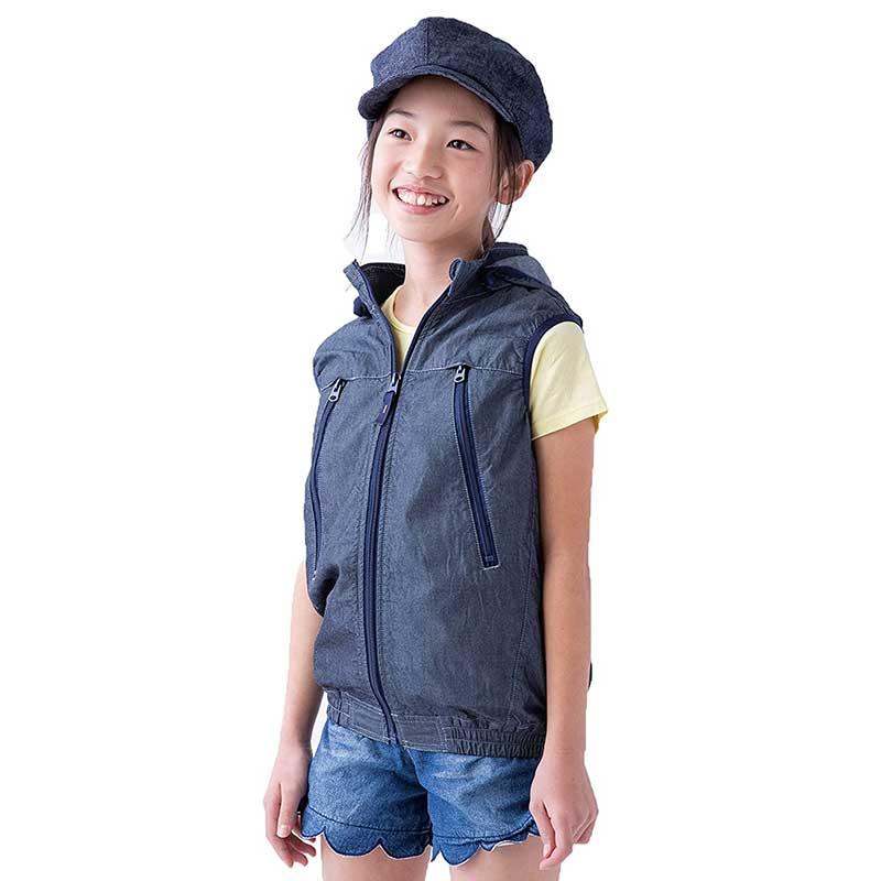 《NEW》【山真製鋸】KID用空調服 インディゴブルーセット KIV-BL-130-SET[75612]
