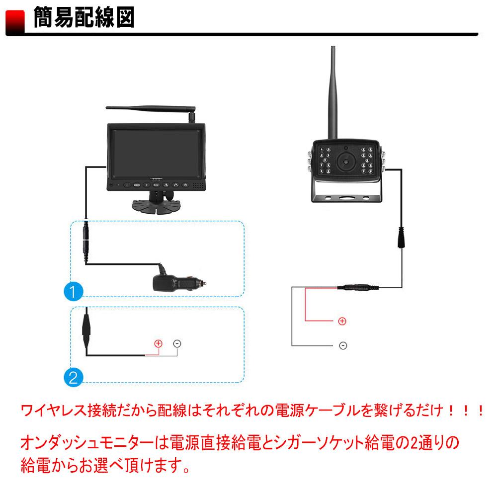 7インチ オンダッシュ型ワイヤレスバックカメラ [48803]