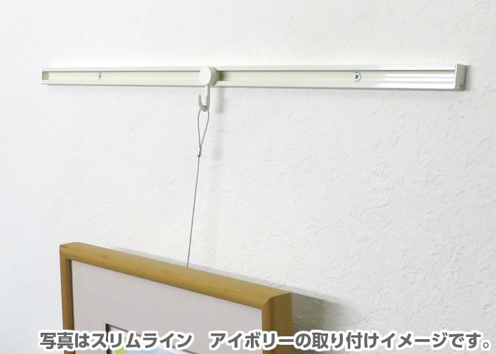 山伸 ピクチャーレール スリムライン 2m 額吊セット ワイヤーアルファフック1m 【額2枚分セット】