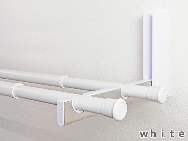 ダブルタイプ (新タイプ) ハンガーラック 折りたたみ可 ルームハンガーブラケット W 2本1組 長雨 洗濯物干し 部屋干し 新生活 DIY