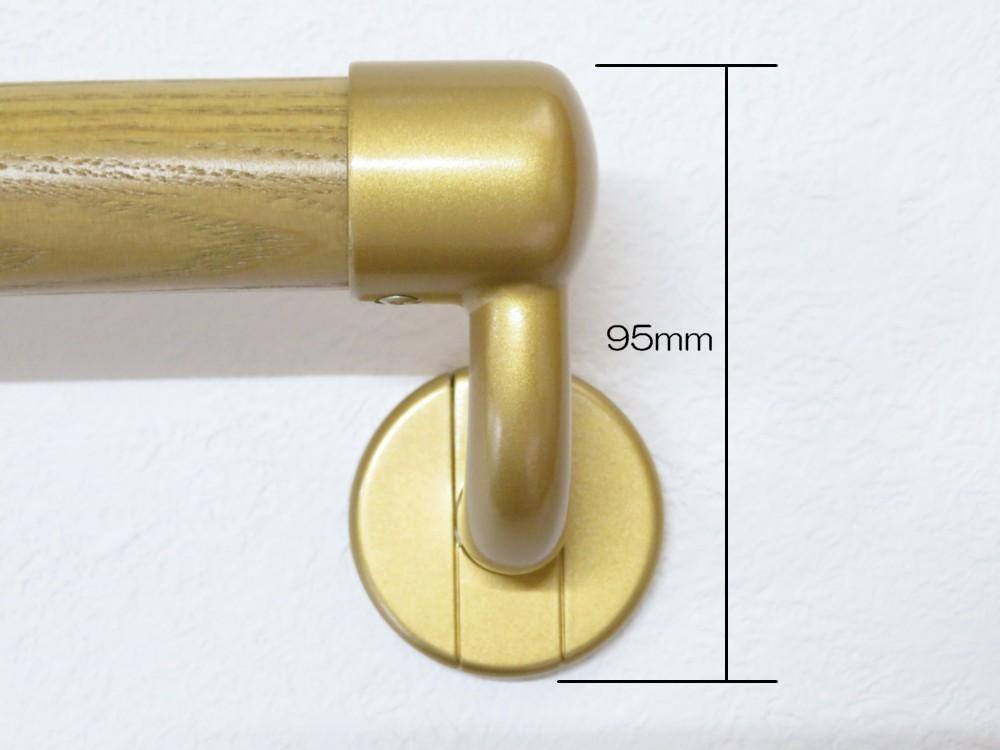 一文字(横付け・水平)手すり 32Φ 303mm 握り部・木製 ディンプル加工 屋内用