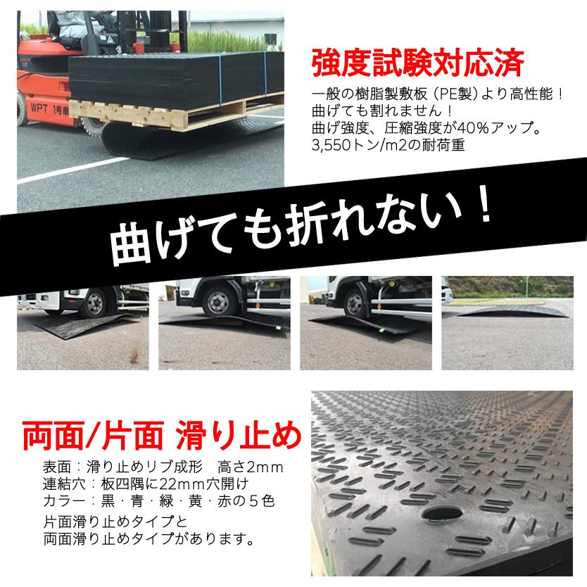 樹脂製敷板Wボード1m×2m (1000mm×2000mm×板厚13mm+すべり止め) 27kg 最大耐荷重120t ウッドプラスチック