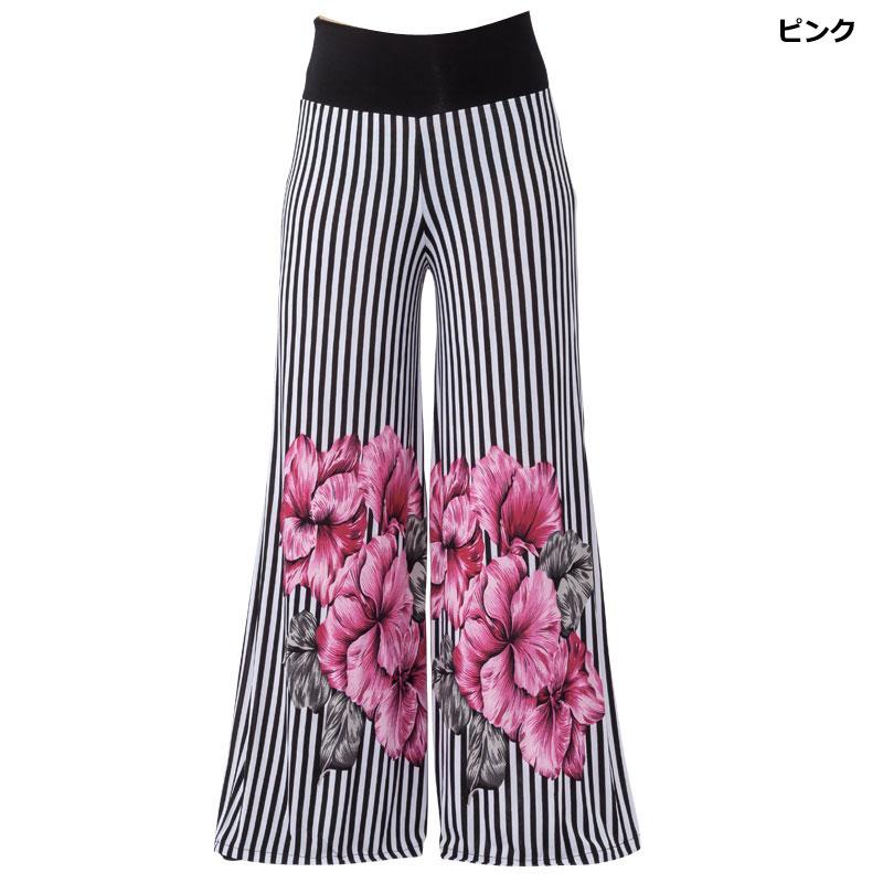 デットストック!)フラワーストライプパンツ【ピンク】