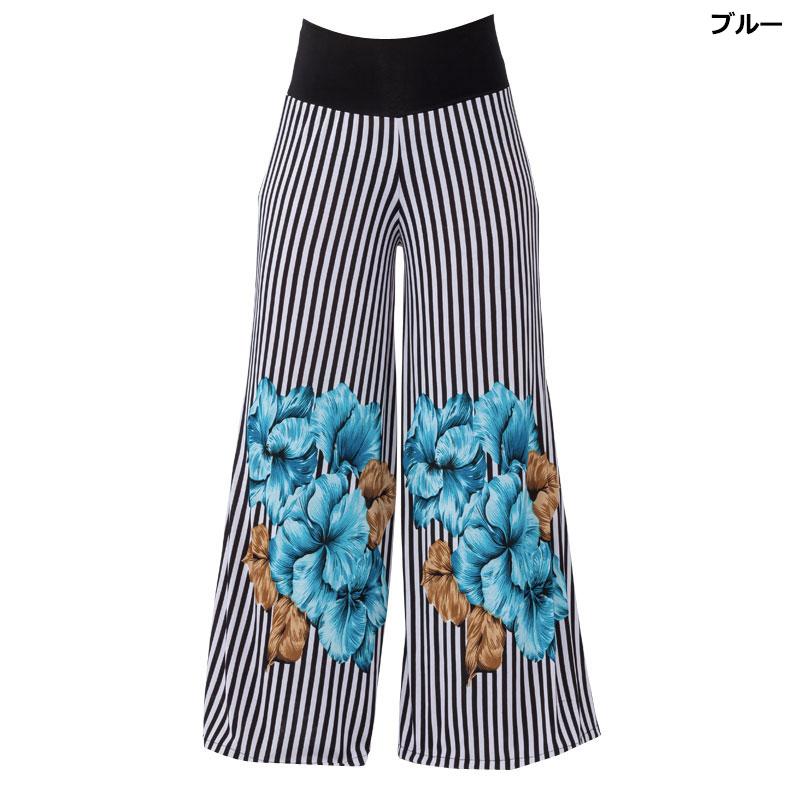 デットストック!)フラワーストライプパンツ【ブルー】