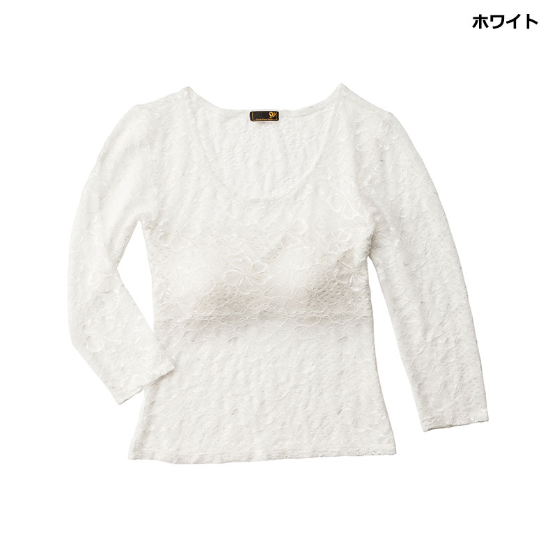 レースカットソー【ホワイト】