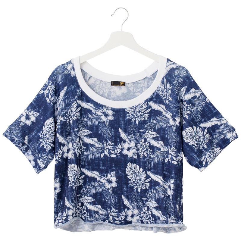 ヘムロールTシャツ【ブルーデニム】