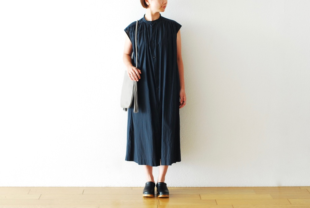 "[WOMEN'S]TOUJOURS(トゥジュー)""Pleated Sleeveless Shirt Dress - EXTRA FINE COUNT SUVIN COTTON CLOTH"""