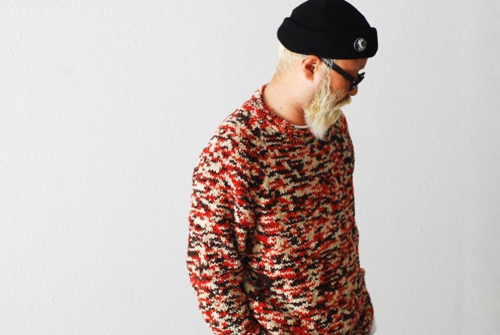 "ts(s) (ティーエスエス) ""Hand Dye Cotton Mole Yarn Knit / Crew Neck Knit Sweater"""