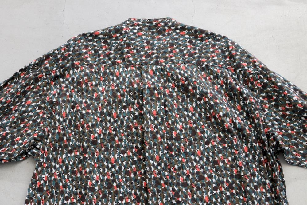 "【WOMEN'S】TOUJOURS(トゥジュー)""Baggy Band Collar Shirt - ORGANIC COTTON VINTAGE FLOWER PRINT TWILL CLOTH-"""
