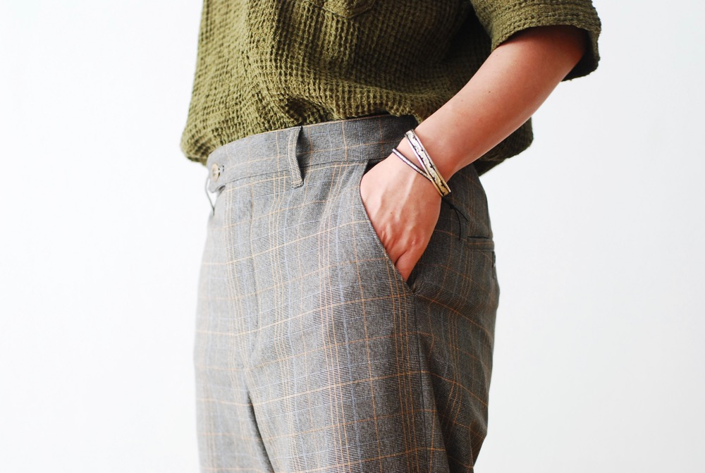 "[WOMEN'S]ts(s) (ティーエスエス) ""Sabrina Pants - Stripe/Plaid Polyester*Rayon Stretch Cloth"""