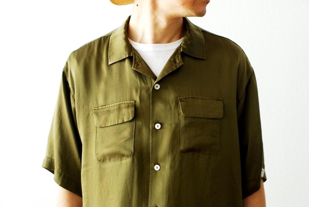 """itten.(イッテン) """"itten 6180 open collar S/S shirts - silk"""""""