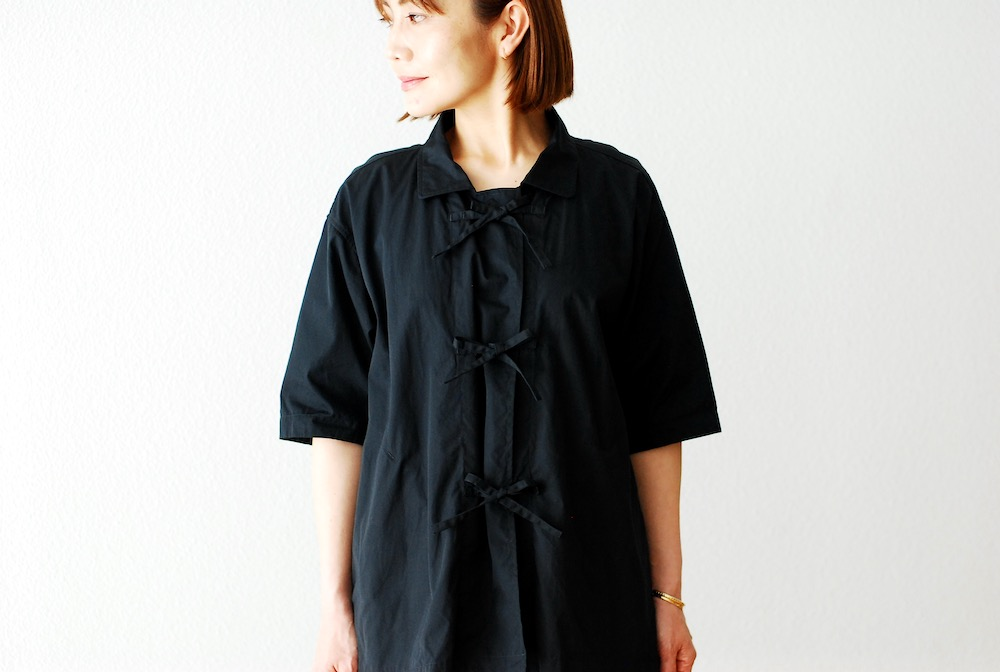 """[WOMEN'S]TOUJOURS(トゥジュー)""""Half Sleeve China Coverall Shirt  -DOUBLE TWISTED COTTON POPLIN CLOTH"""""""