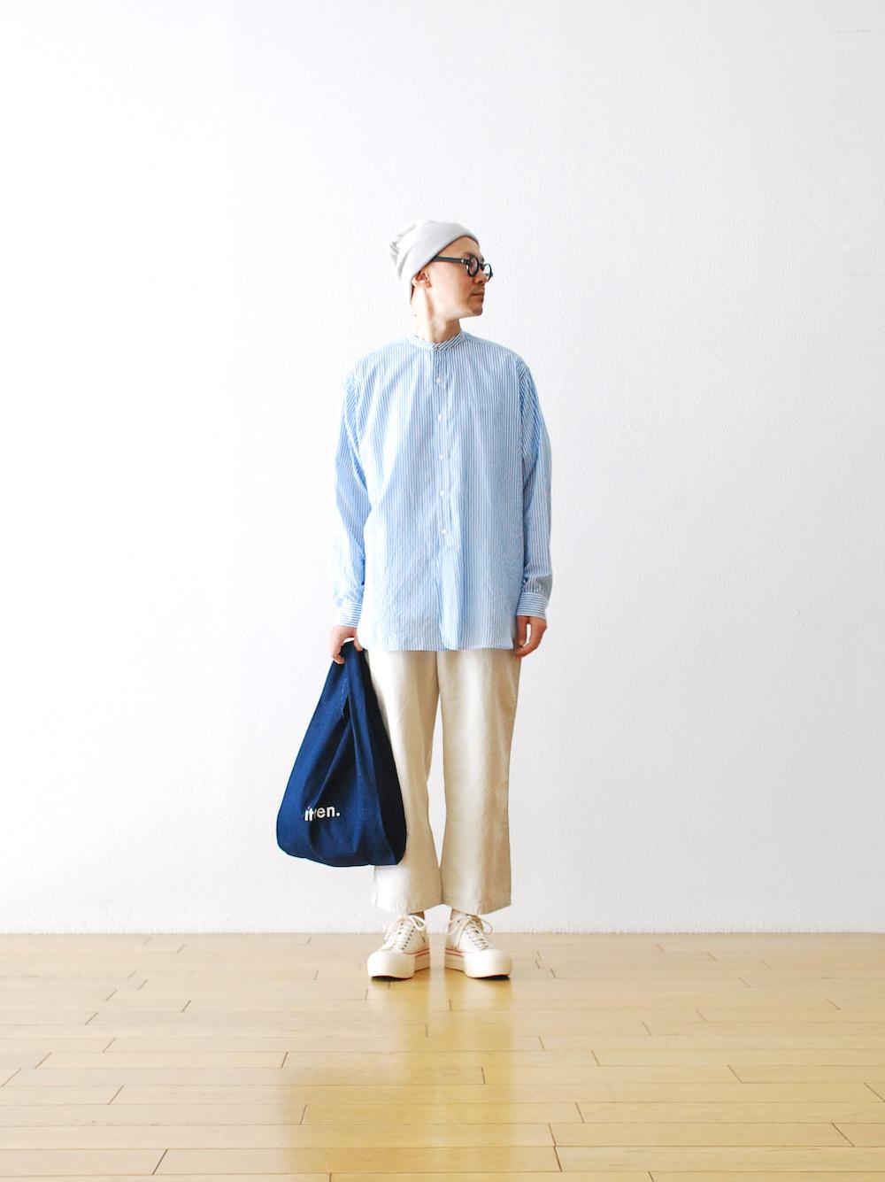 "[unisex]itten. (イッテン) ""itten 18 wide fit bandcollar shirt -Stripe-"""