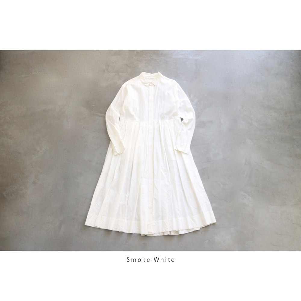 "[WOMEN'S]TOUJOURS(トゥジュー)""Pleated Shirt Dress - SILK*COTTON TRIPLE YARN FAILLE CLOTH"""