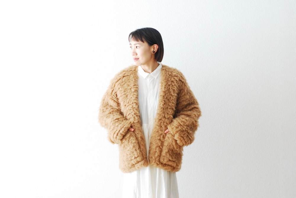 """[WOMEN'S] TOUJOURS(トゥジュー)""""Button Front Fly Big Cardigan Jacket - Extra Fine Baby Camel*Silk Furry Cloth"""""""