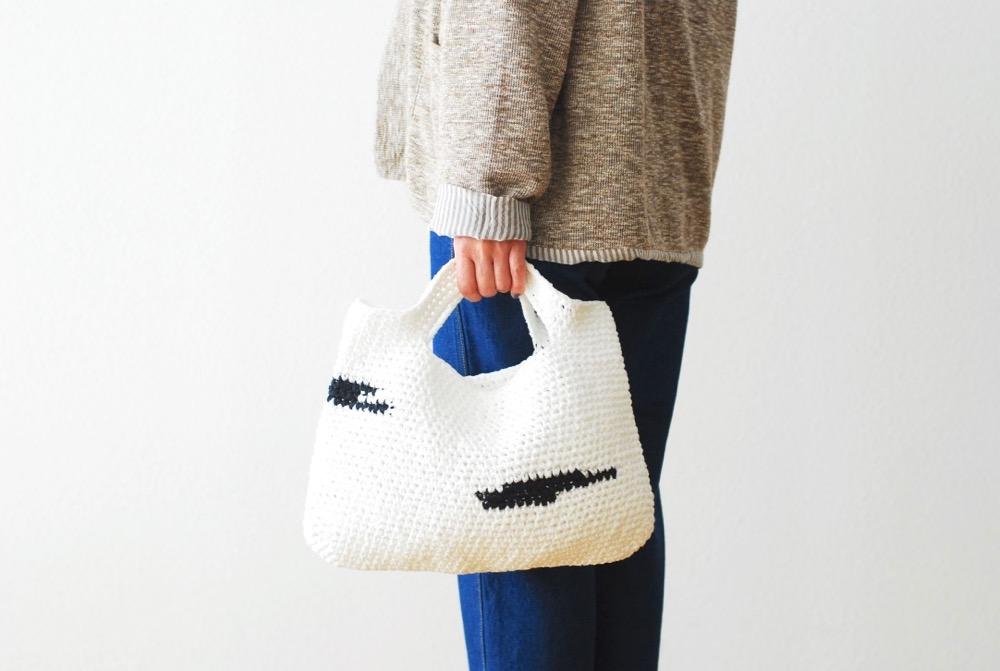 "TOUJOURS(トゥジュー) ""Hand Knit Crochet Tote Bag (Medium) - Fine Cotton Tape Yarn Knit"""