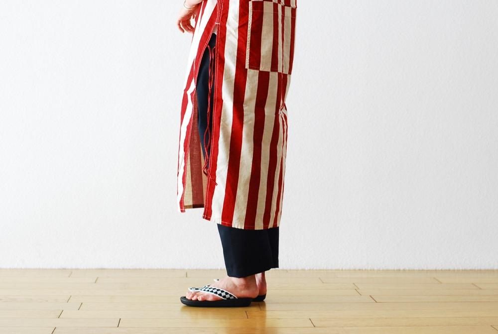 "itten.(イッテン) ""itten 11 H vest long - Cotton Linen Stripe-"""
