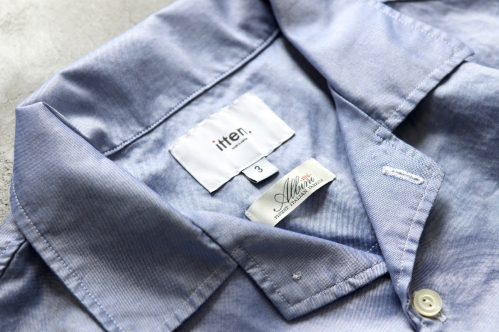 """itten.(イッテン) """"itten 6180 open collar S/S shirts -MicroOxford-"""""""