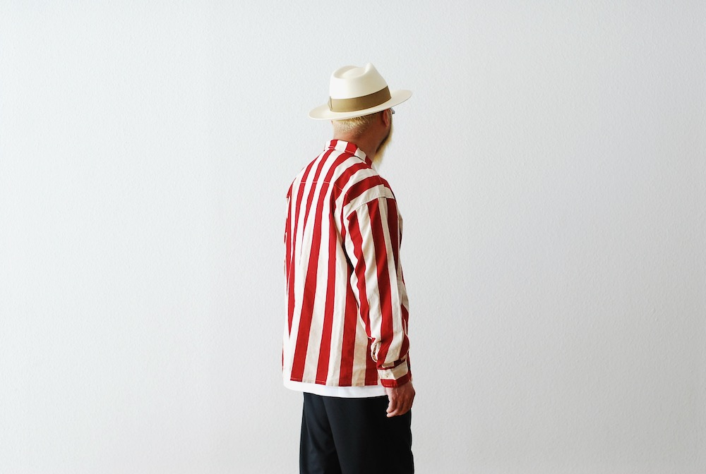 "[unisex]itten.(イッテン) ""itten 6180 open collar L/S shirts -Cotton Linen Stripe-"""