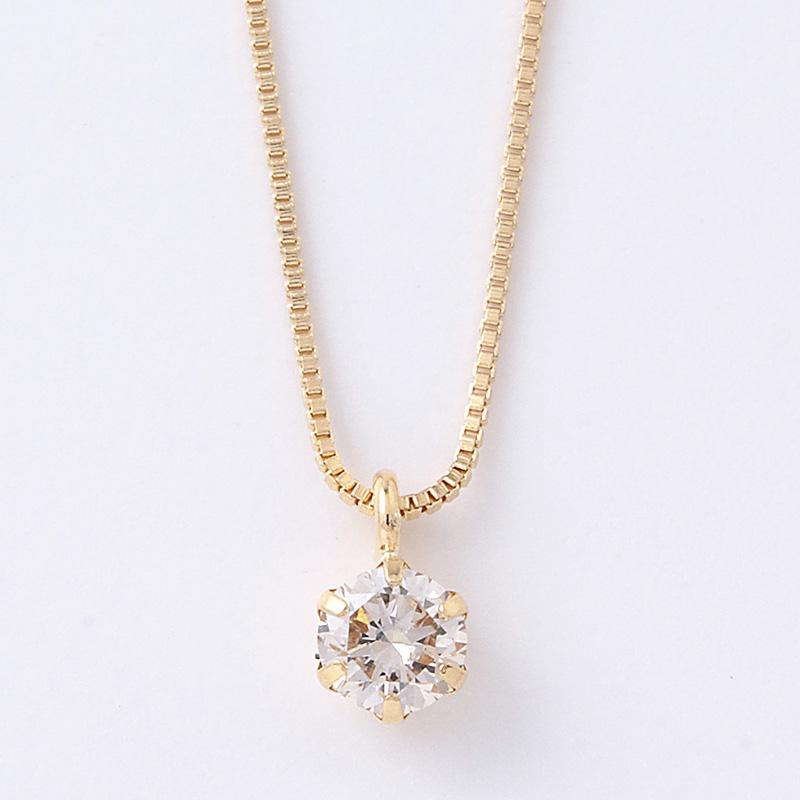 18金イエローゴールド ダイヤモンド ネックレス 0.1ct 鑑別カード付  D15042000