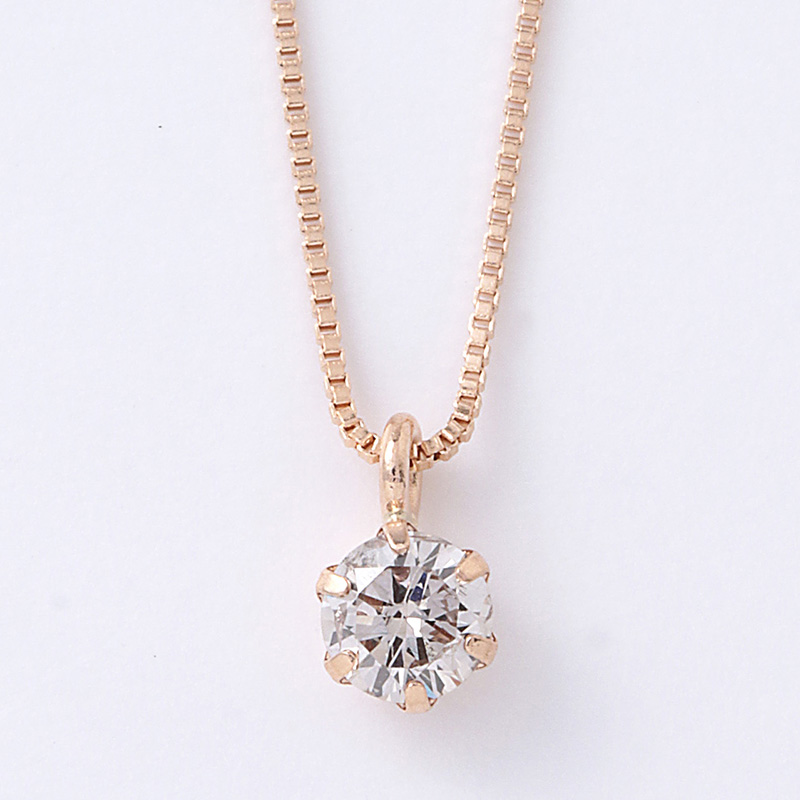 18金ピンクゴールド ダイヤモンド ネックレス 0.1ct 鑑別カード付  D15042005