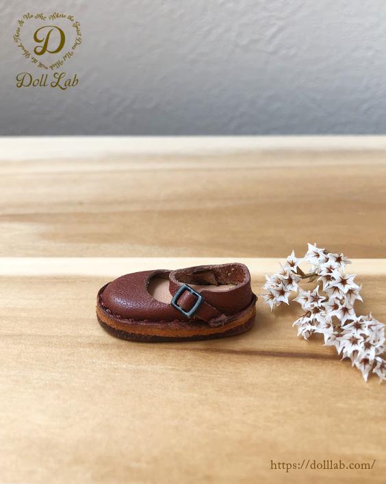 チョコブラウン ストラップシューズ [ブライス] ドール 靴 本革