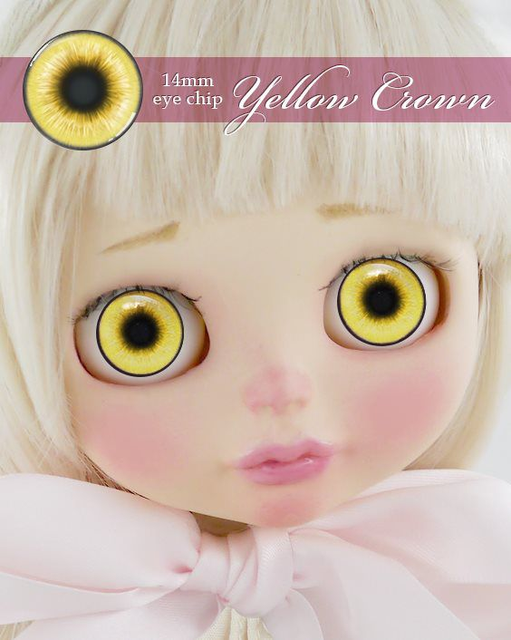 ガラスアイチップ イエロークラウン[1/6ドール・14mmアイ対応ガラスアイチップ カスタム]Doll Lab(ドールラボ)