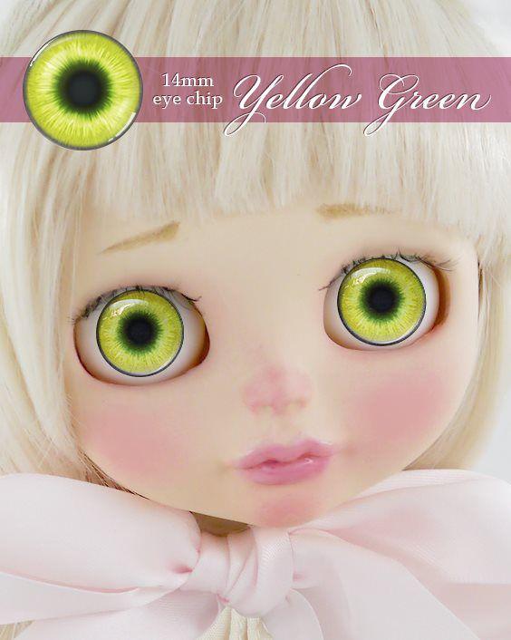 ガラスアイチップ イエローグリーン[1/6ドール・14mmアイ対応ガラスアイチップ カスタム]Doll Lab(ドールラボ)