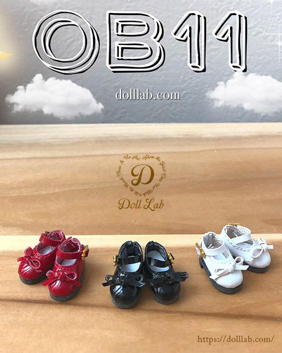 エナメルリボンシューズ [オビツ11 OB11 ミディブライス] ドール靴【赤】